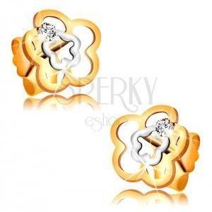 Kolczyki z dwukolorowego 585 złota - podwójny falisty kontur kwiatka, bezbarwna cyrkonia obraz