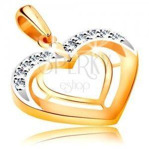 Zawieszka z 585 złota - dwa kontury serc w dwukolorowej wersji, cyrkonie obraz