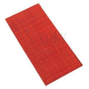 Lśniący upominkowy woreczek z celofanu czerwonego koloru z motywem spirali obraz