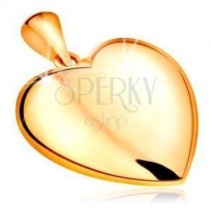 Zawieszka z żółtego 585 złota - dwustronne wypukłe serce, lśniąca powierzchnia obraz