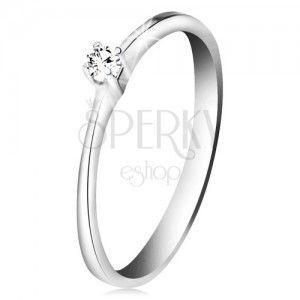 Brylantowy pierścionek z białego złota 585 - błyszczący bezbarwny diament w czteroramiennym koszyczku obraz
