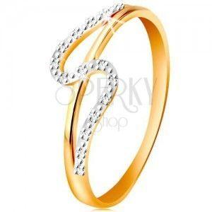 Diamentowy pierścionek ze złota 585, proste i faliste ramię, drobne bezbarwne diamenty obraz