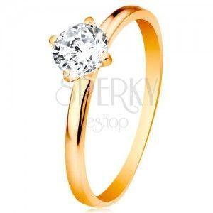 Zaręczynowy pierścionek z żółtego 585 złota - gładkie ramiona, błyszcząca okrągła cyrkonia bezbarwnego koloru obraz