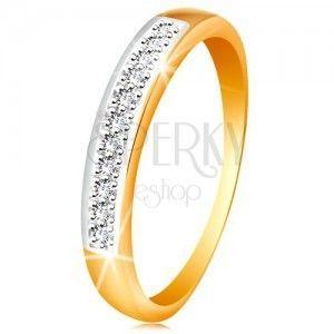 Złoty 585 pierścionek z lśniącymi dwukolorowymi ramionami, bezbarwne cyrkonie obraz