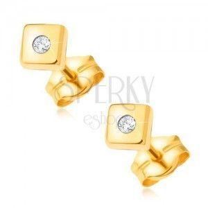 Diamentowe złote kolczyki 585 - lśniące kwadraty z drobnym bezbarwnym brylantem pośrodku obraz