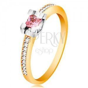 Złoty 585 pierścionek - błyszczące ramiona, okrągła różowa cyrkonia w koszyczku z białego złota obraz