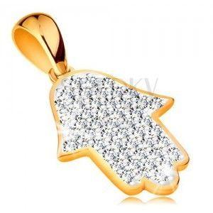 Złota zawieszka 585 - symbol Hamsa wyłożony błyszczącymi bezbarwnymi cyrkoniami obraz