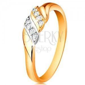 Złoty pierścionek 585 - dwie fale z białego i żółtego złota, błyszczące bezbarwne cyrkonie obraz