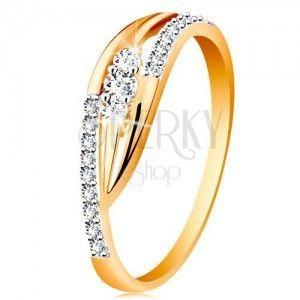 Złoty pierścionek 585 - lśniące zagięte ramiona, błyszczące pasy i trzy cyrkonie obraz