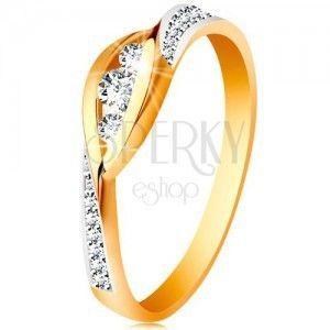 Złoty 585 pierścionek - lśniące zagięte końce ramion, trzy cyrkonie i błyszczące pasy obraz