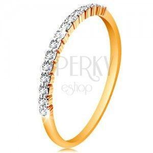 Złoty 585 pierścionek - pas błyszczących bezbarwnych cyrkonii, lśniące ramiona obraz