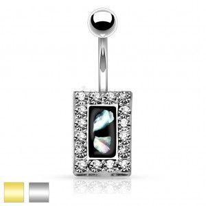 Stalowy piercing do brzucha, czarny prostokąt z kawałkami perły, cyrkoniowa oprawa obraz