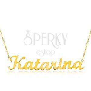 Złoty regulowany naszyjnik 585 z imieniem Katarina, subtelny błyszczący łańcuszek obraz