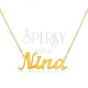 Naszyjnik z żółtego 585 złota - cienki łańcuszek, lśniąca zawieszka - imię Nina obraz