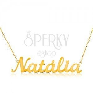 Złoty 585 naszyjnik - cienki łańcuszek z owalnych ogniw, lśniąca zawieszka Natalia obraz