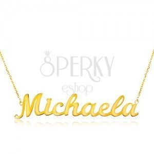 Naszyjnik z żółtego 585 złota - cienki łańcuszek, lśniąca zawieszka - imię Michaela obraz