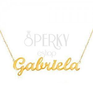 Naszyjnik z żółtego złota 585 - subtelny łańcuszek, lśniąca zawieszka Gabriela obraz