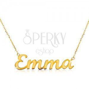 Naszyjnik z żółtego 585 złota - cienki błyszczący łańcuszek, lśniący napis Emma obraz