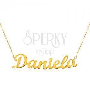 Naszyjnik z żółtego 585 złota - cienki łańcuszek, lśniąca zawieszka - imię Daniela obraz
