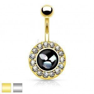 Stalowy piercing do brzucha, czarne kółko z kawałkami perły, cyrkoniowa oprawa obraz