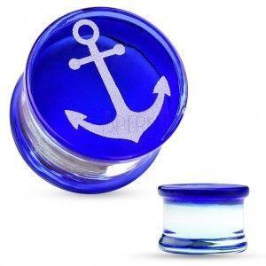 Siodłowo plug ze szkła pireksowego, biała kotwica na niebieskim tle obraz