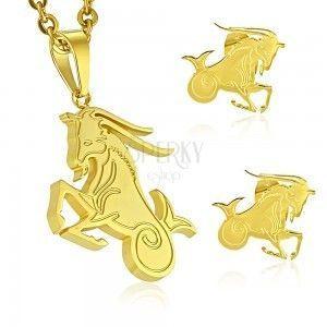Zestaw ze stali chirurgicznej złotego koloru, zawieszka i kolczyki, znak zodiaku KOZIOROŻEC obraz