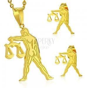 Stalowy zestaw złotego koloru - zawieszka i kolczyki wkręty, znak zodiaku WAGA obraz