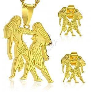 Zestaw ze stali chirurgicznej w złotym odcieniu, zawieszka i kolczyki, znak zodiaku BLIŹNIĘTA obraz