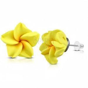FIMO kolczyki, żółty kwiatek z pomarańczowym środkiem, zapięcie na sztyft obraz