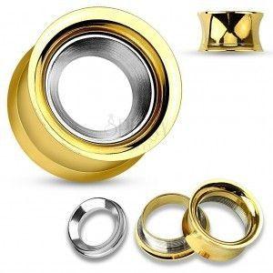 Stalowy tunel do ucha złotego koloru z kołem w srebrnym odcieniu, wysoki połysk obraz