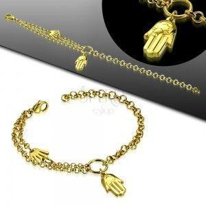 Stalowa bransoletka złotego koloru, dwie dłonie Fatimy i podwójny łańcuszek obraz