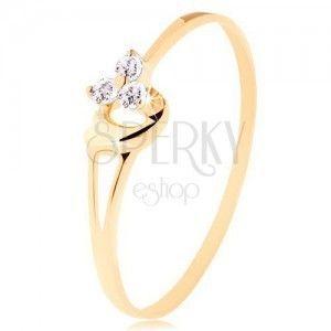 Pierścionek z żółtego 585 złota - trzy diamenty w delikatnym różowym odcieniu, serduszko obraz