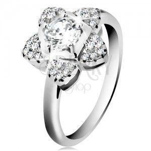 Zaręczynowy pierścionek, srebro 925, błyszczący cyrkoniowy kwiatek bezbarwnego koloru obraz