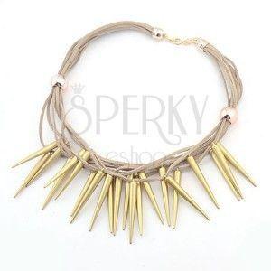 Naszyjnik z brązowych skórzanych sznurków i szpiczastych stożków złotego koloru obraz