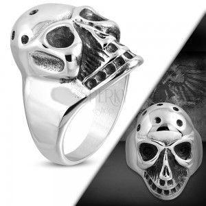 Masywny pierścionek ze stali 316L, patynowana czaszka z otworami na czole obraz