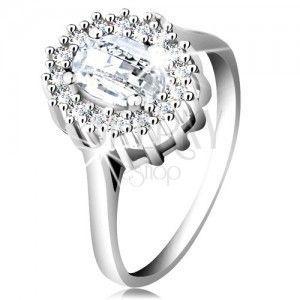 Zaręczynowy pierścionek ze srebra 925, owalna oszlifowana cyrkonia, oprawa z drobnych cyrkonii obraz