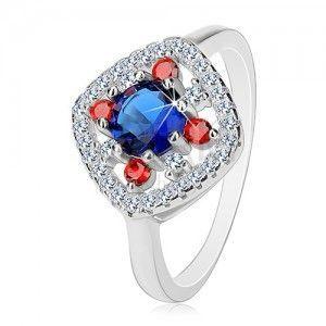 Srebrny pierścionek 925, ciemnoniebieski środek, bezbarwne i czerwone cyrkonie obraz