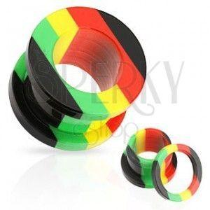 Akrylowy tunel do ucha, pasy czerwonego, żółtego, zielonego i czarnego koloru obraz
