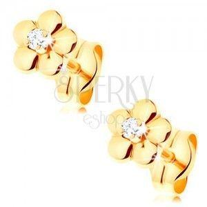 Złote kolczyki 585 - mały błyszczący kwiat, podwyższony bezbarwny diament w środku obraz