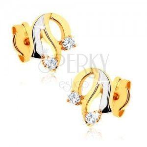 Diamentowe złote kolczyki 585 - lśniące faliste linie, błyszczące bezbarwne diamenty obraz