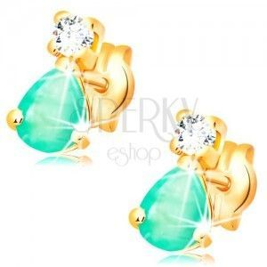 Kolczyki z żółtego 14K złota - łezkowy zielony szmaragd, okrągły bezbarwny diament obraz