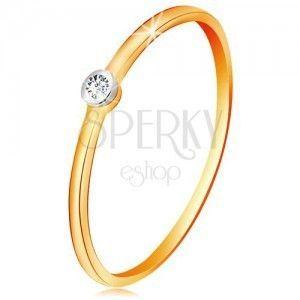 Złoty dwukolorowy pierścionek 585 - bezbarwny cyrkon w okrągłej oprawie, cienkie ramiona obraz