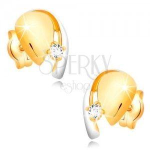 Diamentowe złote 14K kolczyki, dwukolorowa kropla z błyszczącym brylantem obraz