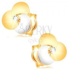 Złote diamentowe kolczyki 585 - bezbarwny brylant w dużym dwukolorowym kwiatku obraz