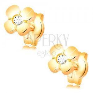 Złote kolczyki 585 - błyszczący kwiat z bezbarwny diamentem w środku obraz