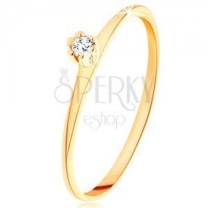 Pierścionek z żółtego 14K złota - cienkie ramiona, okrągła cyrkonia bezbarwnego koloru obraz