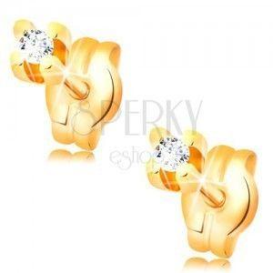 Kolczyki z żółtego 14K złota - okrągła cyrkonia bezbarwnego koloru, 1, 5 mm obraz
