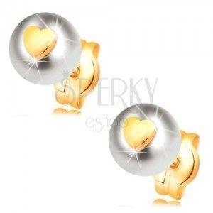 Złote kolczyki 585 - biała perła z błyszczącym symetrycznym sercem obraz