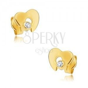 Diamentowe złote kolczyki 585 - błyszczące serce z wycięciem i bezbarwnym brylantem obraz