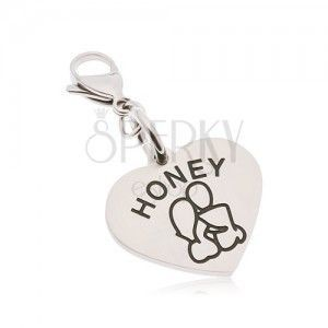 Stalowa zawieszka na klucze, serce z napisem HONEY, zakochana para obraz